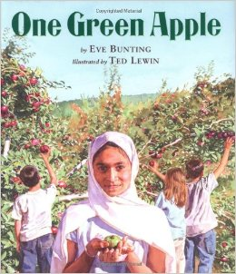 ONE GREEN APPLE by EVE BUNTING // Farah is a young Muslim immigrant who feels worlds away from her American classmates. This story of cultural divide and unity centers around the simple act of apple harvesting.