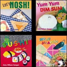 WORLD SNACKS BOARD BOOK SERIES by AMY WILSON SANGERA // Delightful collection of beautifully artistic paper illustrations that feature the foods of the Jewish, Chinese, Japanese and Mexican cultures.